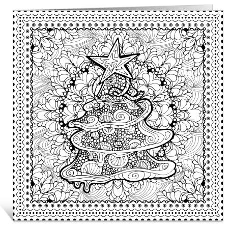 inkleur kerstkaarten van ingspire met kerstboom en quotes