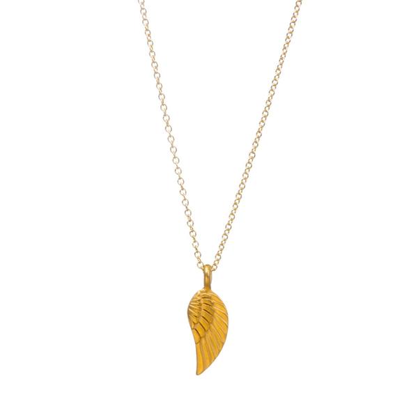 Goudkleurige ketting met engelen vleugel Veren symboliseren harmonie, overvloed en liefde