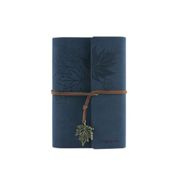 Vintage mini-notieboek met zacht leren kaft in de kleur donkerblauw- Notitieboek kopen op inspirerendwinkelen.nl