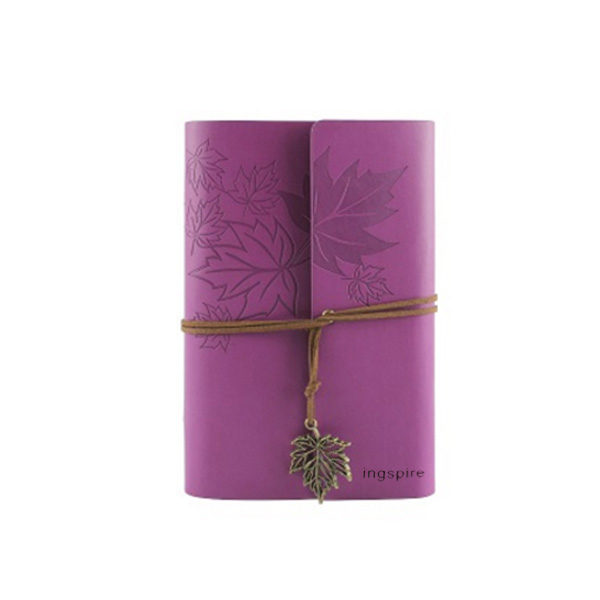 Vintage mini-notieboek met zacht leren kaft in de kleur paars - Notitieboek kopen op inspirerendwinkelen.nl