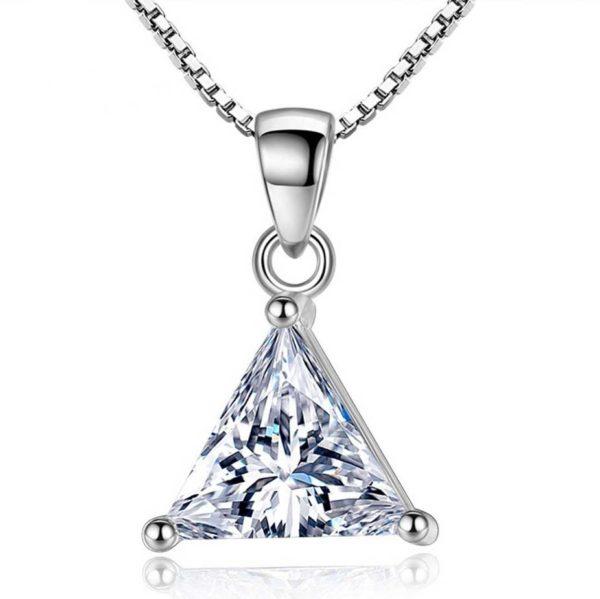 Zilveren ketting met berg driehoek symbool veerkracht cadeau vertrouwen