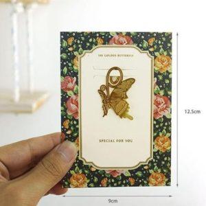 Boekenlegger kopen met wenskaart - vlinder vorm - www.inspirerendwinkelen.nl
