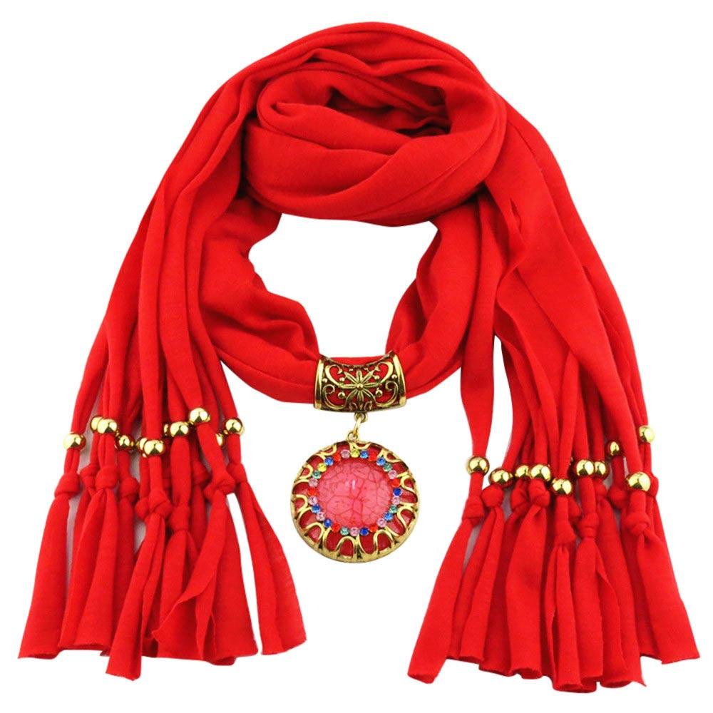 Rode trendy sjaal kopen met prachtig sieraad - kijk op inspirerendwinkelen.nl