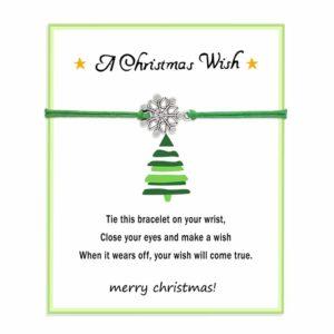 klein goedkoop kerstcadeau idee: sneeuwvlok armband groen op kerstkaart met wens voor kerstmis