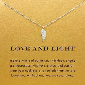 Hoop Sterkte Liefde cadeau ketting engel vleugel met symbolisch kaartje